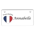 French Bulldog Heart Flag Crate Tag Personalized With Your Dog's Name